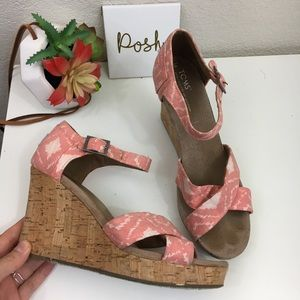 Toms Ikat coral pink canvas wedge heels
